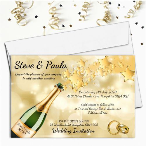 10 Personalised Champagne Star burst Wedding Invitations Day or Evening N68